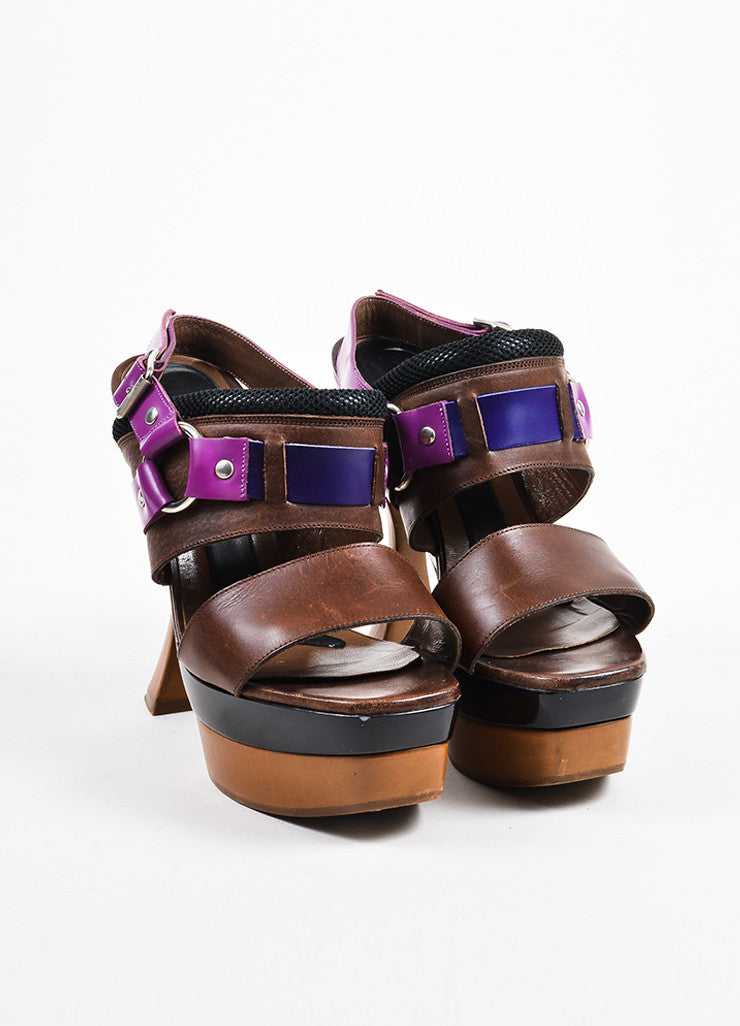 Purple and Brown Marni Leather Horse Bit Platform Slingback Sandals Frontview