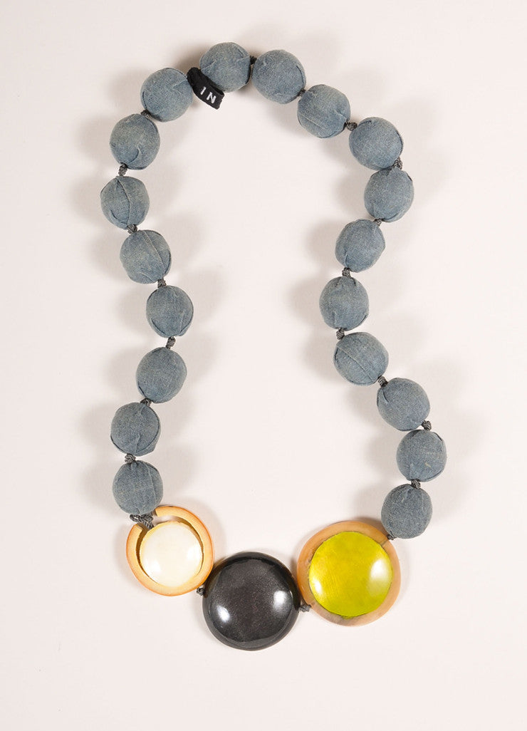 Marni Blue and Multicolor Cloth Ball Bead and Resin Bead Statement Necklace Frontview