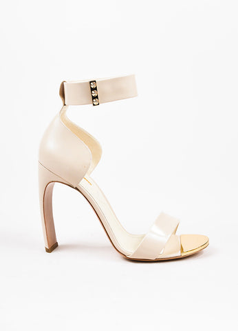 "Nicholas Kirkwood ""Nude"" Leather Contoured Heel ""Maeva"" Sandals Sideview"