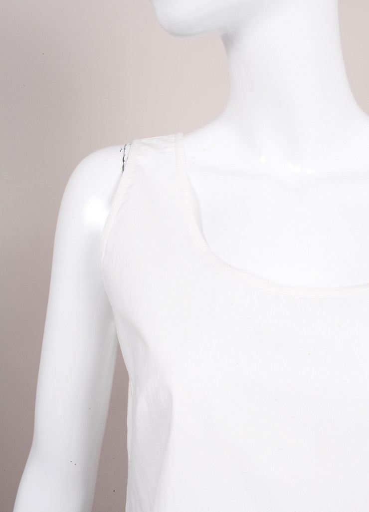 "Odeeh New With Tags ""Milk"" White Cotton Poplin Scoop Neck Tank Top Detail"