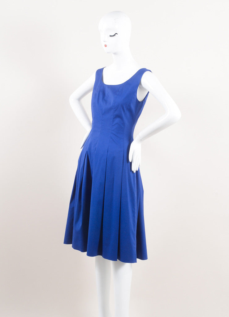 Oscar de la Renta New With Tags Blue Cotton Sleeveless Pleated A-Line Dress Sideview