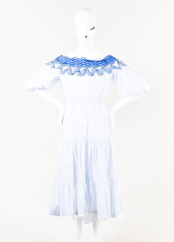 "Peter Pilotto White Embroidered Off The Shoulder ""Pallas"" Dress Front"