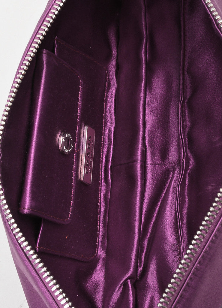 Prada Purple Satin Zipper Clutch Bag Interior
