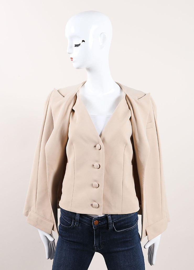 Thakoon New With Tags Tan Wool Crepe Blend Sleeveless Blazer Jacket Cape Frontview