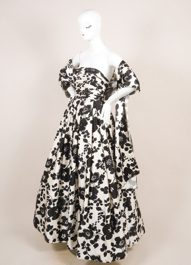 Two by Rosa Clara Cream and Black Floral Print Ruched Strapless Gown  Sideview
