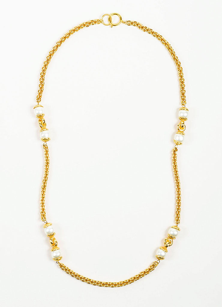 Gold Toned Chanel Faux Pearl Single Strand Long Chain Necklace Frontview