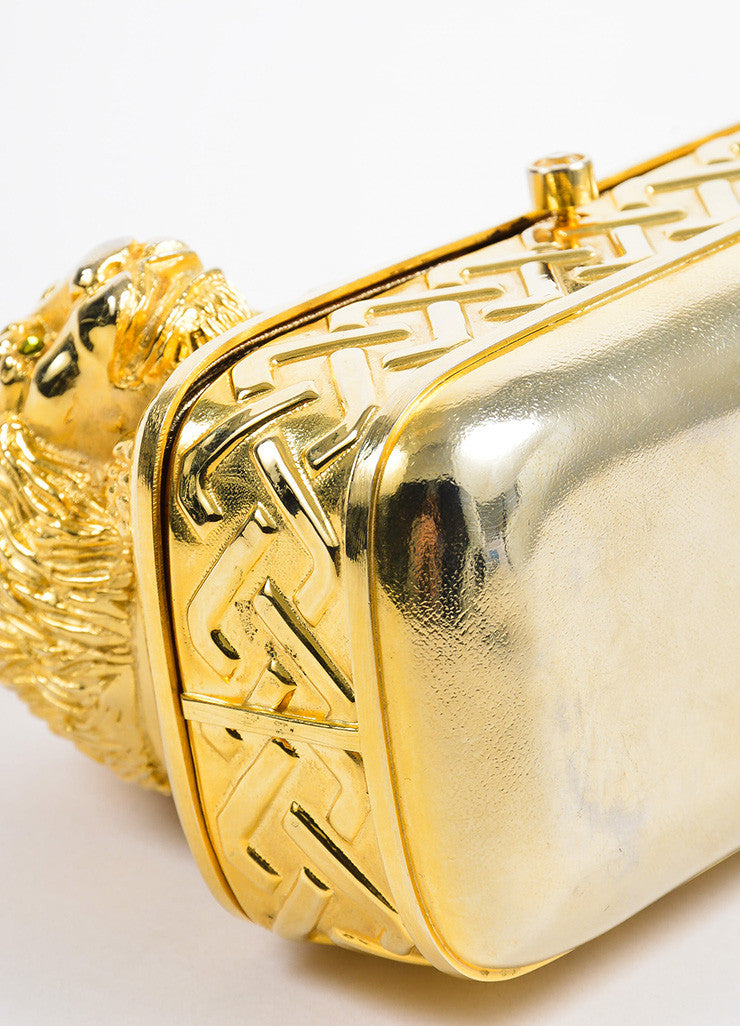 Gold Toned Judith Leiber Lion Minaudiere Clutch Bag Detail