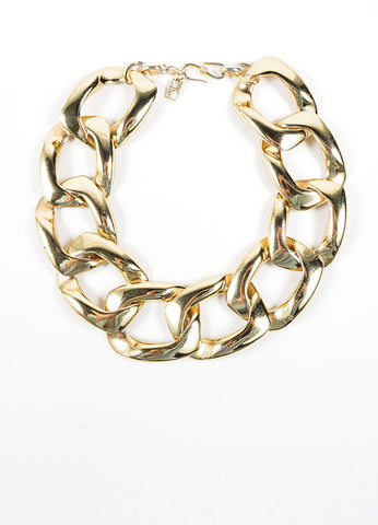 Yves Saint Laurent Gold Toned Oversized Chunky Chain Link Necklace Frontview