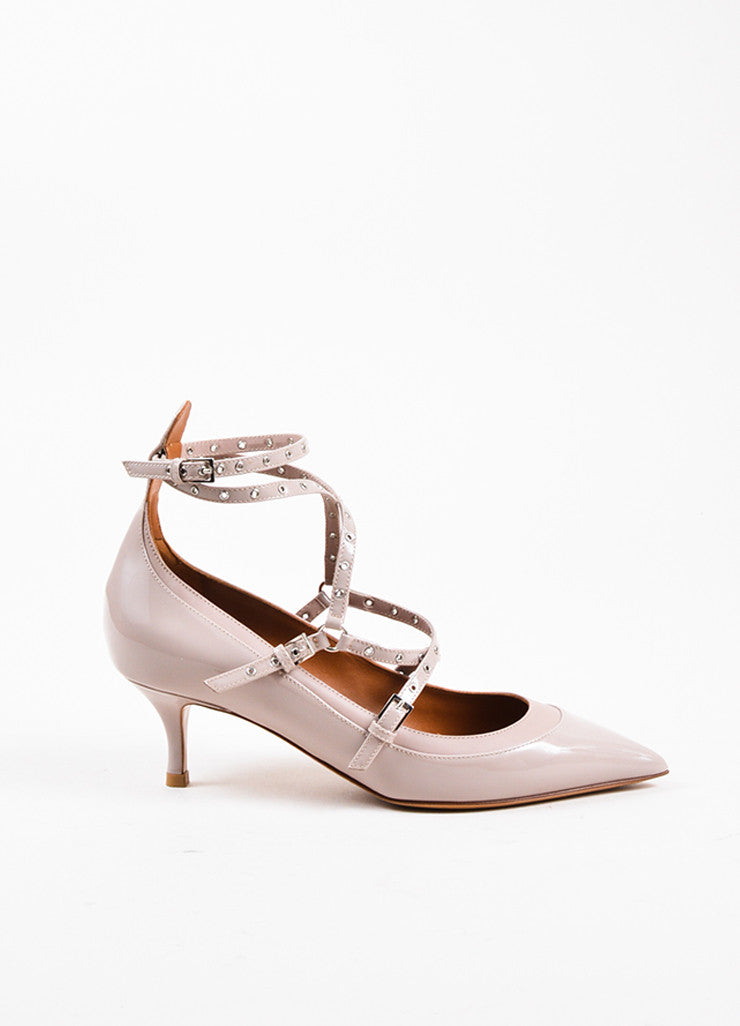 "Beige Valentino Patent Leather Caged ""Love Latch"" Pumps Side"