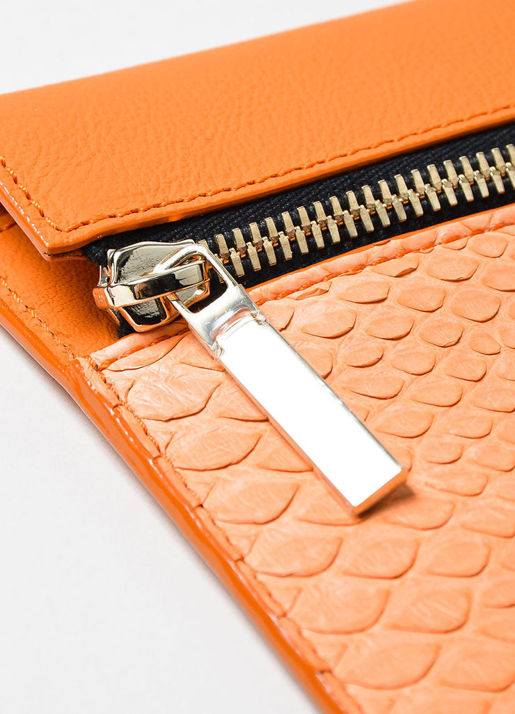 Orange Victoria Beckham Python and Buffalo Zip Oversized Pouch Clutch Bag Detail 2