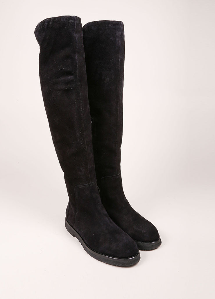 "Vince New In Box Black Suede Leather Knee High Flat ""Coleton"" Boots Frontview"