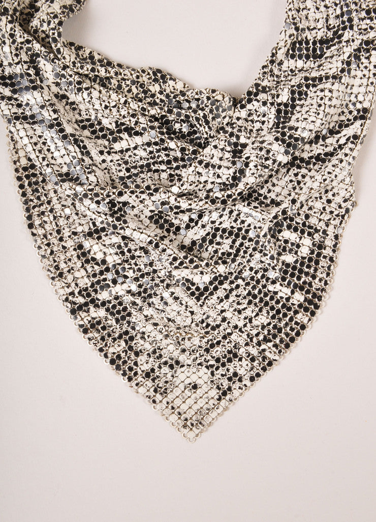 Whiting and Davis White and Black Mesh Snakeskin Print Cowl Drop Bib Necklace Detail