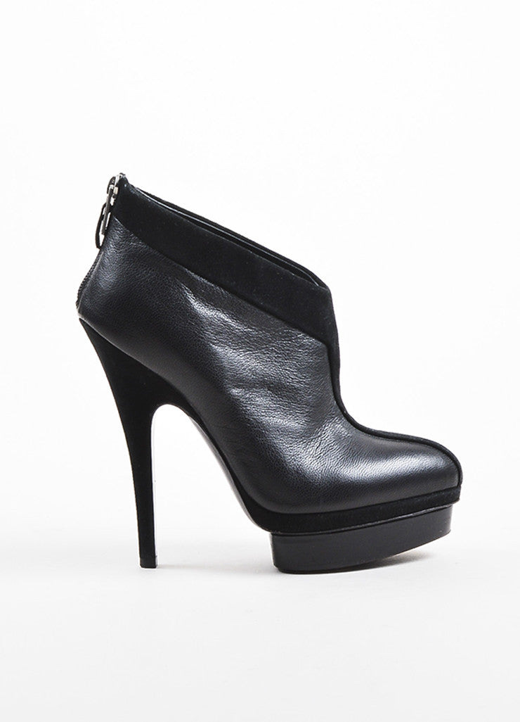 Black Yves Saint Laurent Leather Suede Platform Angled Booties Side