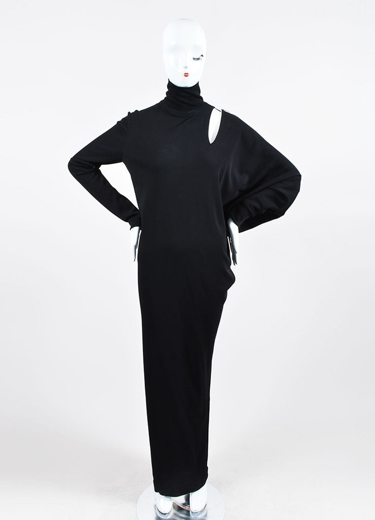 Jean Paul Gaultier Black Cut Out Asymmetrical Long Sleeve Gown Frontview