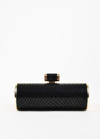 Halston Heritage Black and Gold Embossed Snakeskin Rolled Clutch Bag Frontview