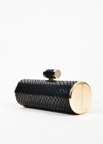 Halston Heritage Black and Gold Embossed Snakeskin Rolled Clutch Bag Sideview