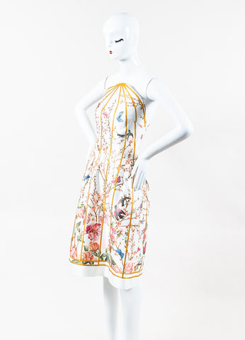 Thakoon White Multicolor Birdcage Floral Print Round Strapless Dress Front