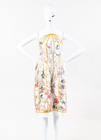 Thakoon White Multicolor Birdcage Floral Print Round Strapless Dress Front 2