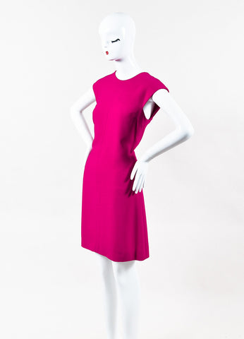 Saint Laurent Fuchsia Pink Crepe Knee Length Sleeveless A Line Dress Side