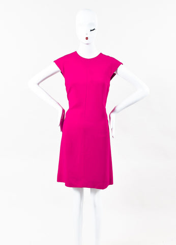 Saint Laurent Fuchsia Pink Crepe Knee Length Sleeveless A Line Dress Front