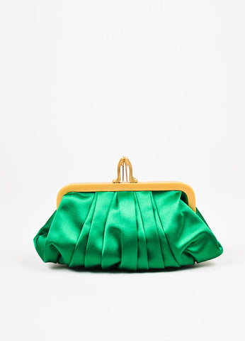 Christian Louboutin Green Gold Satin 'Loubinight' Clutch Bag Frontview