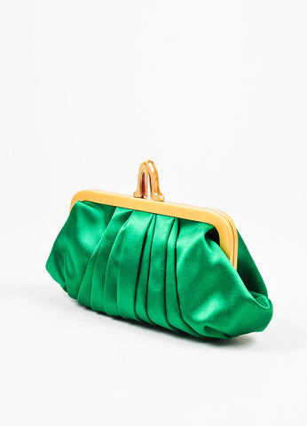Christian Louboutin Green Gold Satin 'Loubinight' Clutch Bag Sideview