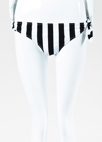 Dolce & Gabbana Black and White Striped Tie Strap Hipster Bikini Bottom Frontview