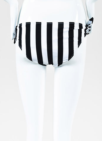 Dolce & Gabbana Black and White Striped Tie Strap Hipster Bikini Bottom Backview