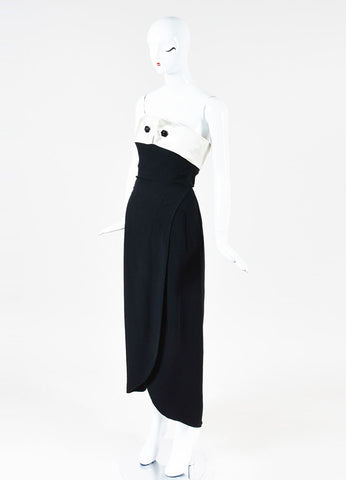 Giorgio Armani Black and Off White Satin Trim Buttoned Strapless Maxi Dress Sideview