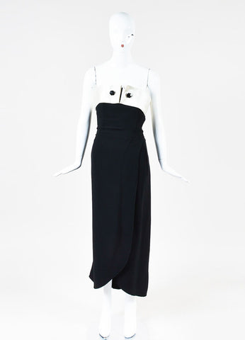 Giorgio Armani Black and Off White Satin Trim Buttoned Strapless Maxi Dress Frontview