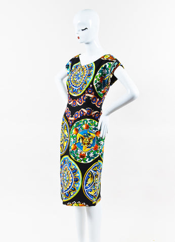 Dolce & Gabbana Black and Multicolor Printed Cap Sleeve Dress Sideview