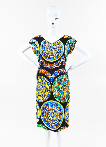 Dolce & Gabbana Black and Multicolor Printed Cap Sleeve Dress Frontview