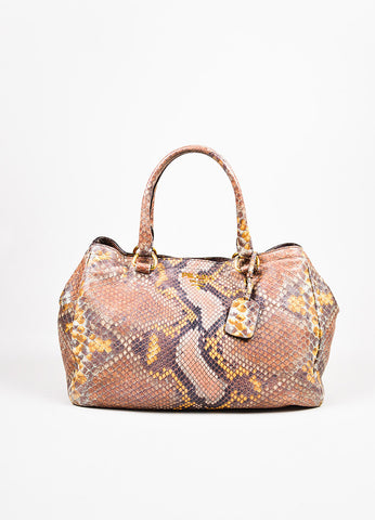 "Prada Multicolor Leather Python Printed GHW Double Strap ""Lux"" Tote Bag front"
