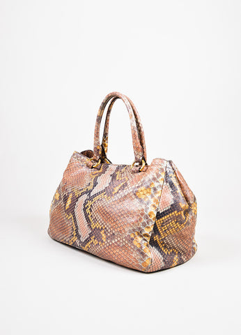 "Prada Multicolor Leather Python Printed GHW Double Strap ""Lux"" Tote Bag angle"