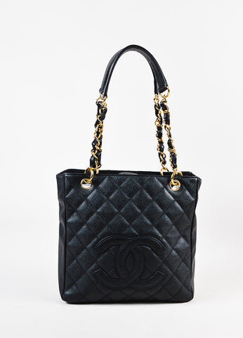 "Chanel Black Caviar Leather Quilted GHW ""Petite Shopping Tote"" Bag Frontview"