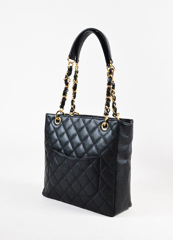 "Chanel Black Caviar Leather Quilted GHW ""Petite Shopping Tote"" Bag Sideview"