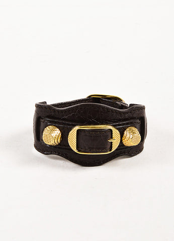 "Balenciaga Brass & Charcoal Leather 'Giant' Stud ""Arena"" Bracelet Front"