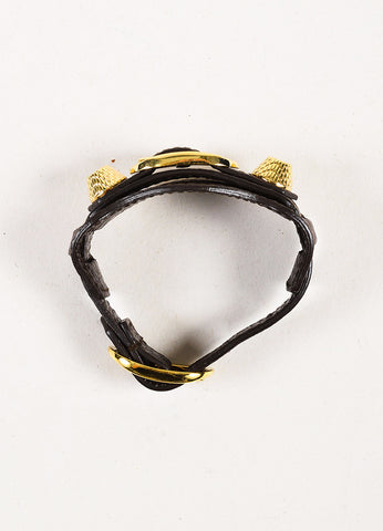 "Balenciaga Brass & Charcoal Leather 'Giant' Stud ""Arena"" Bracelet Detail"