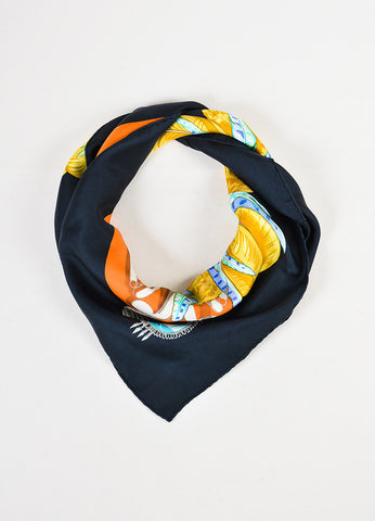 "Hermes ""Mexique"" Black and Multicolor Silk Scarf Frontview"