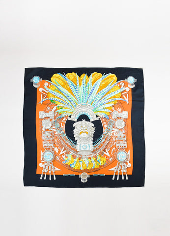 "Hermes ""Mexique"" Black and Multicolor Silk Scarf Frontview 2"