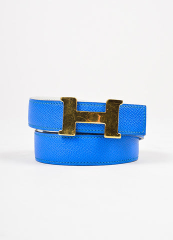 "Hermes Bleu Izmir Blue Epsom Leather 'H' Buckle ""Mini Constance"" Belt"