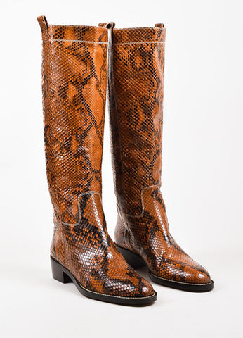 Valentino Garavani Tan and Dark Brown Python Knee High Almond Toe Boots Frontview