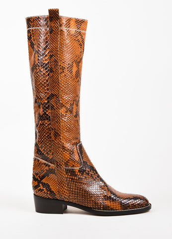 Valentino Garavani Tan and Dark Brown Python Knee High Almond Toe Boots Sideview