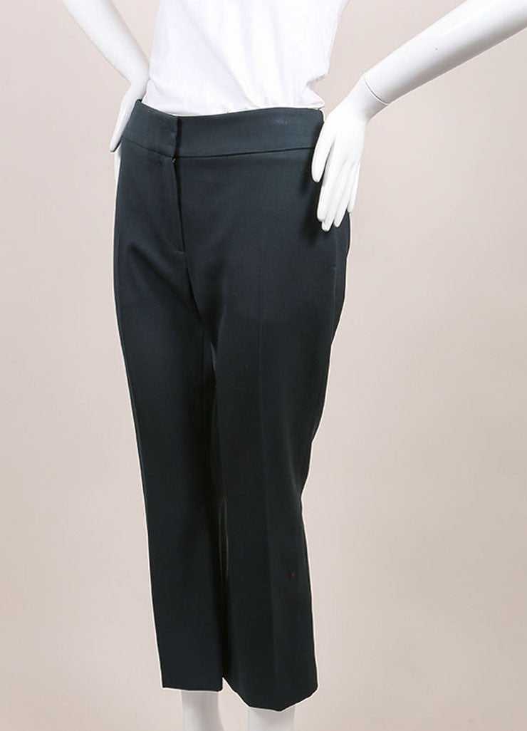 "Alexander McQueen New With Tags Green Wool Cropped ""Grain de Poudre"" Trousers Sideview"