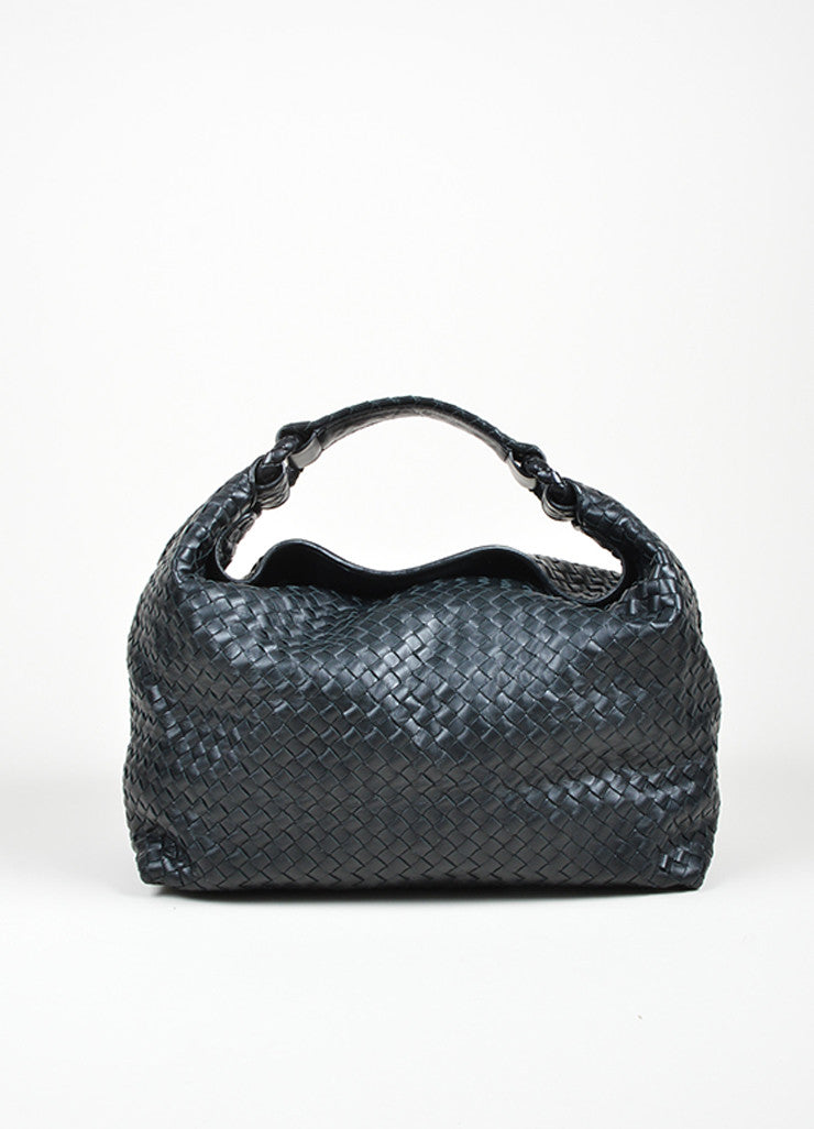 Bottega Veneta Sloane Intrecciato Black Woven Nappa Leather Hobo Bag Frontview