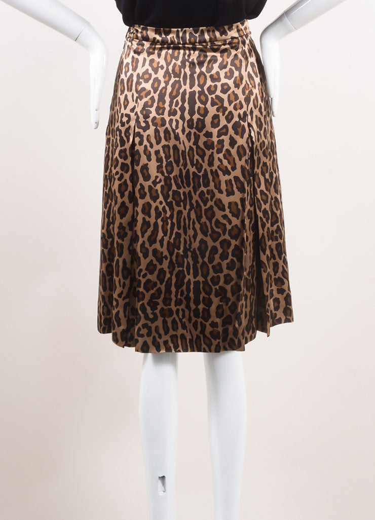 Celine New With Tags Gold, Black, and Brown Silk Leopard Print Pleated Skirt Backview