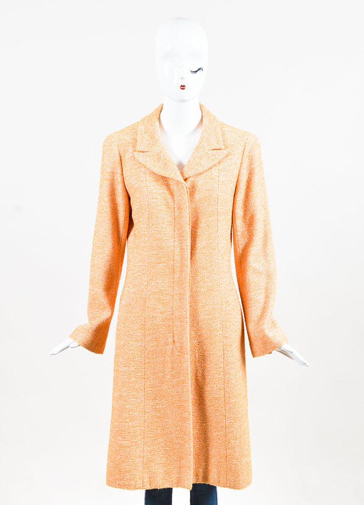 Chanel Orange Textured Metallic Notch Collar Long Button Coat Frontview 2
