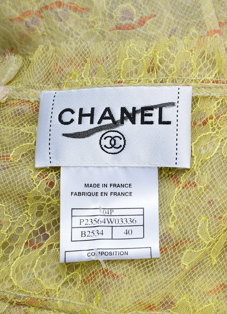 Green and Multicolor Chanel Silk Chiffon Embellished Floral Dress Brand