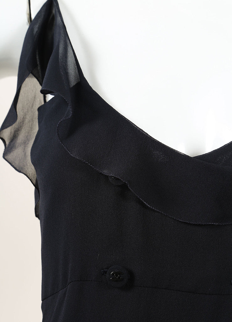Chanel Black Silk Chiffon Ruffle Double Breasted Sleeveless Wrap Dress Detail