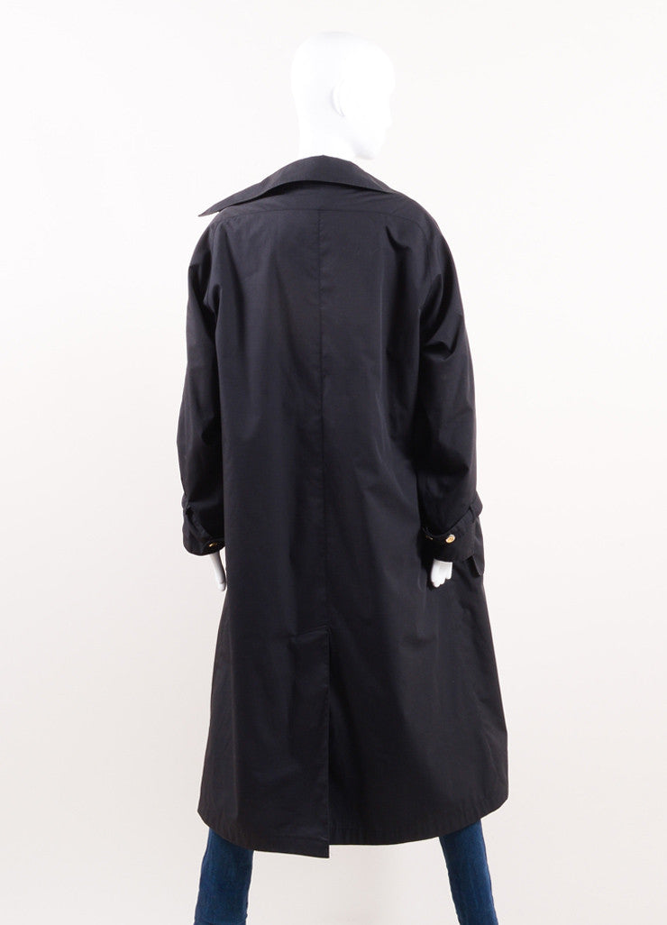Chanel Black Pouch Pocket Lined Trench Coat Backview